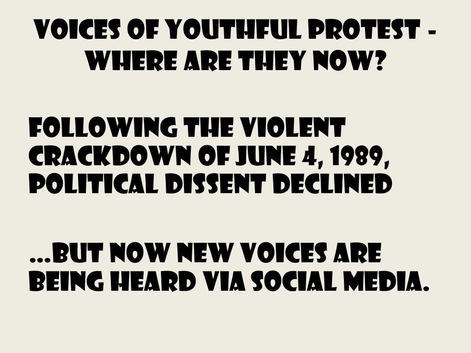 Voices of Youthful Protest - Where Are They Now.