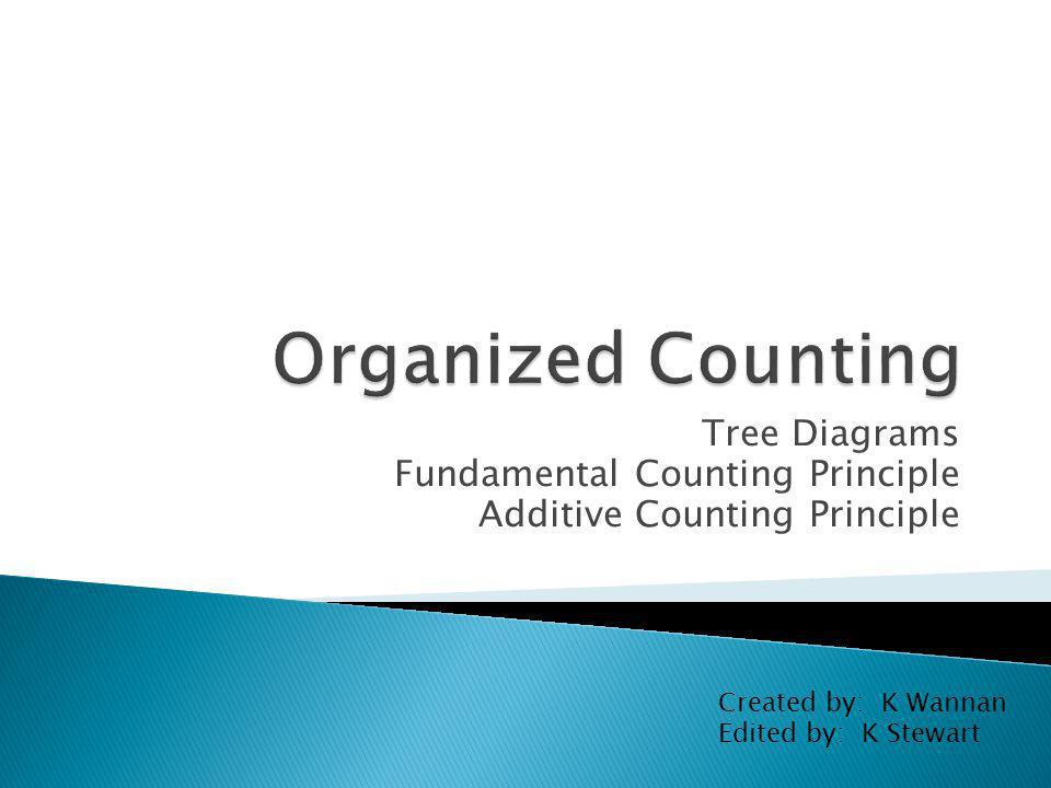 Tree Diagrams Fundamental Counting Principle Additive Counting Principle Created by: K Wannan Edited by: K Stewart