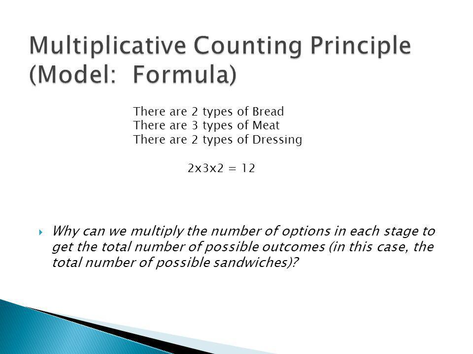 Why can we multiply the number of options in each stage to get the total number of possible outcomes (in this case, the total number of possible sandwiches).