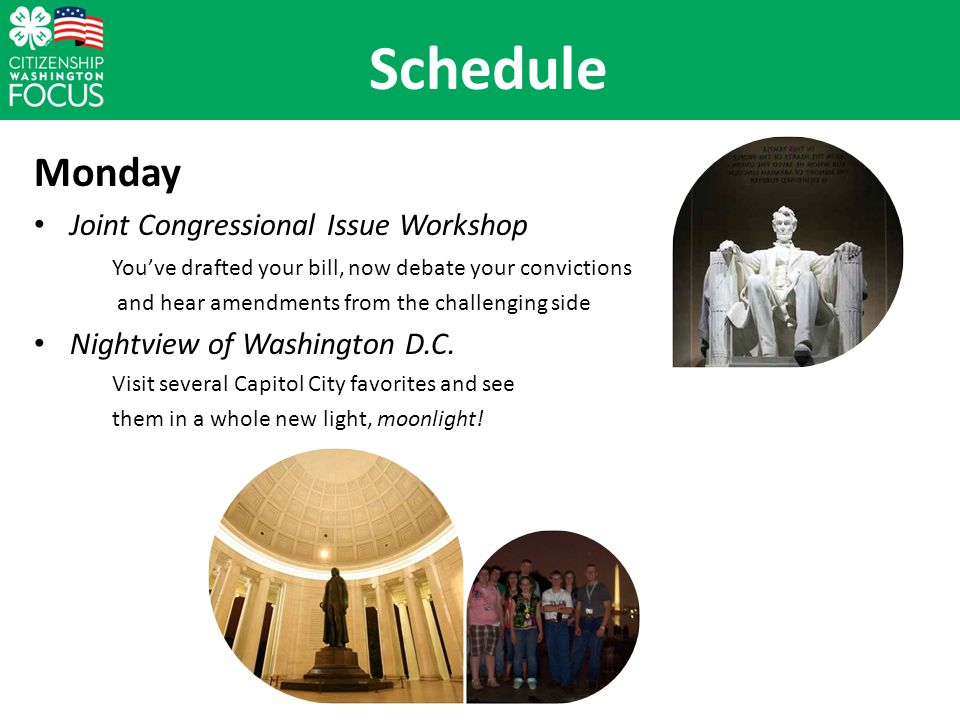 Monday Joint Congressional Issue Workshop Youve drafted your bill, now debate your convictions and hear amendments from the challenging side Nightview of Washington D.C.