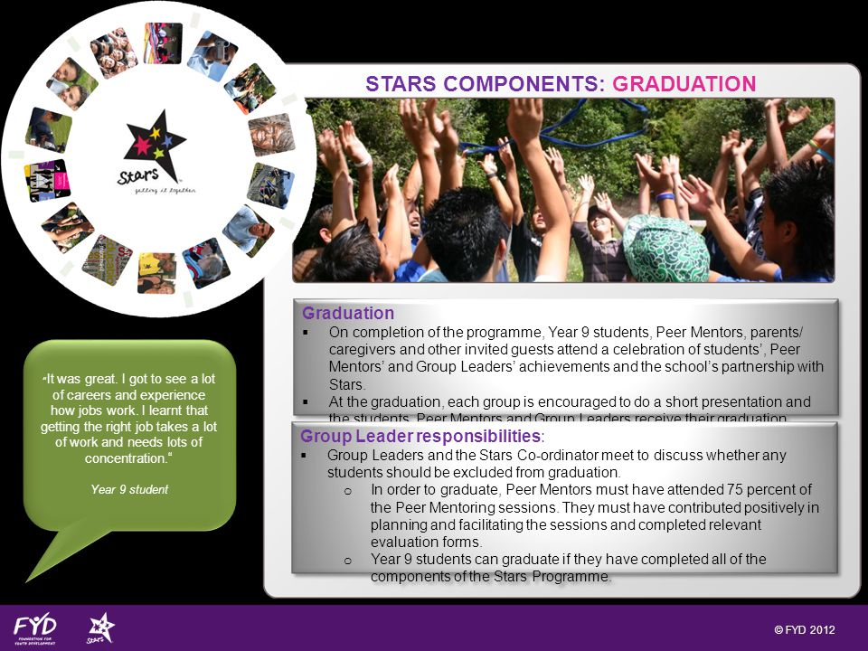 © FYD 2012 STARS COMPONENTS: GRADUATION Graduation On completion of the programme, Year 9 students, Peer Mentors, parents/ caregivers and other invited guests attend a celebration of students, Peer Mentors and Group Leaders achievements and the schools partnership with Stars.