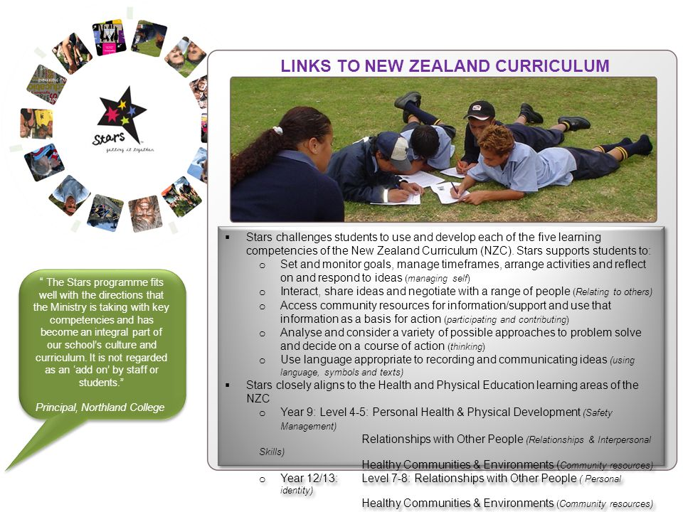 Stars challenges students to use and develop each of the five learning competencies of the New Zealand Curriculum (NZC).