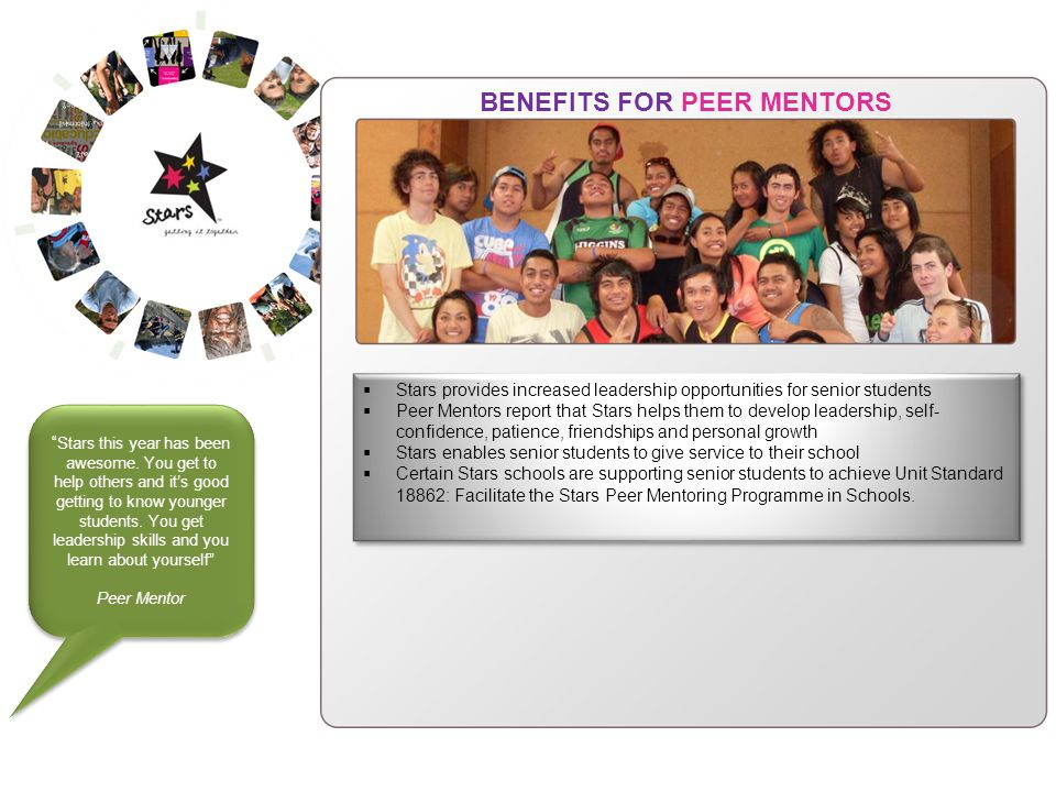 BENEFITS FOR PEER MENTORS Stars provides increased leadership opportunities for senior students Peer Mentors report that Stars helps them to develop leadership, self- confidence, patience, friendships and personal growth Stars enables senior students to give service to their school Certain Stars schools are supporting senior students to achieve Unit Standard 18862: Facilitate the Stars Peer Mentoring Programme in Schools.