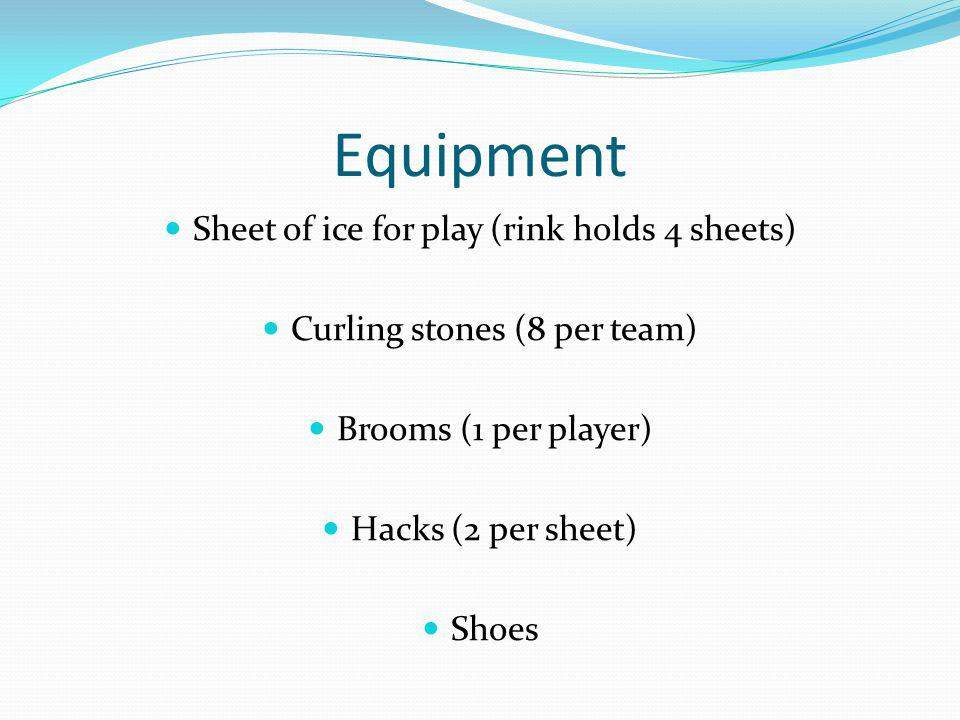 Equipment Sheet of ice for play (rink holds 4 sheets) Curling stones (8 per team) Brooms (1 per player) Hacks (2 per sheet) Shoes