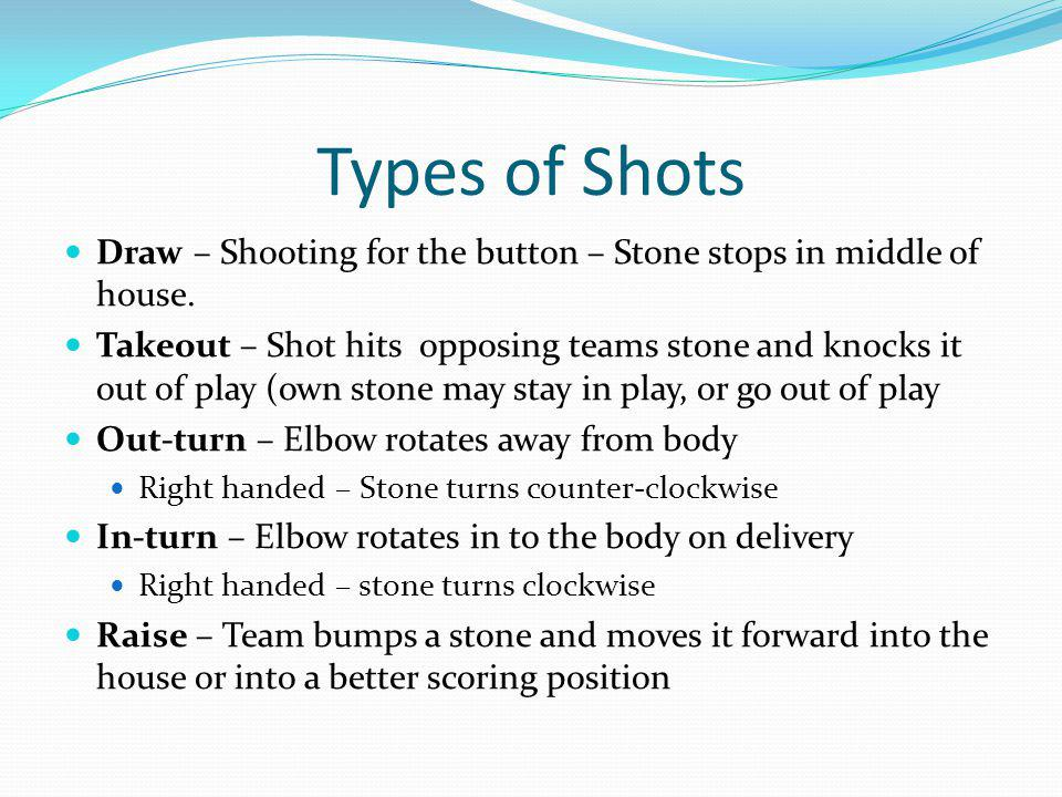 Types of Shots Draw – Shooting for the button – Stone stops in middle of house.