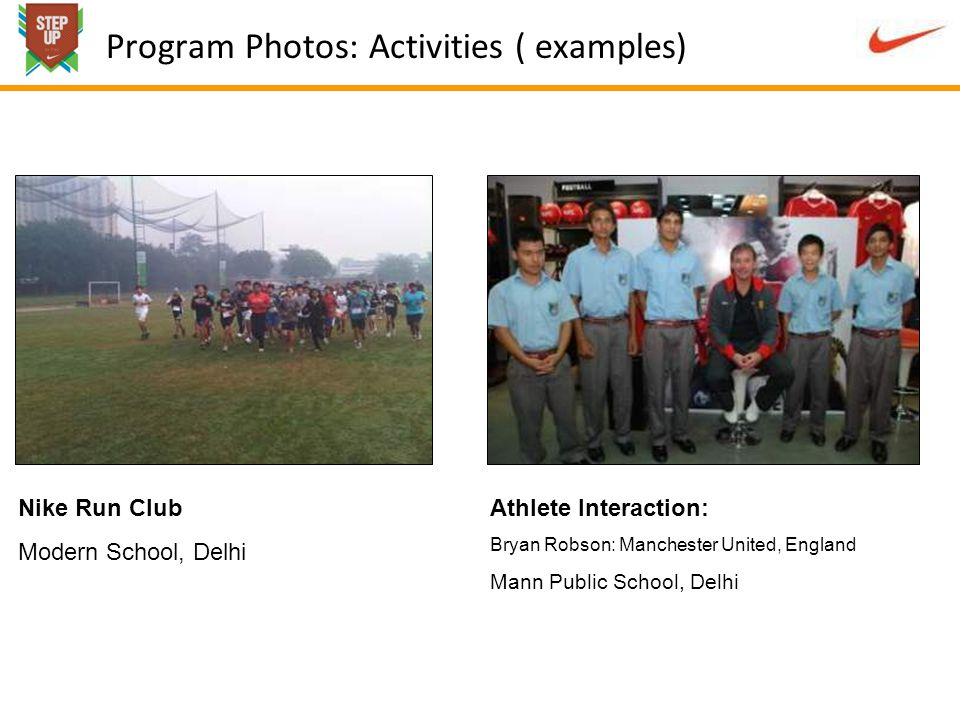 Program Photos: Activities ( examples) Nike Run Club Modern School, Delhi Athlete Interaction: Bryan Robson: Manchester United, England Mann Public School, Delhi