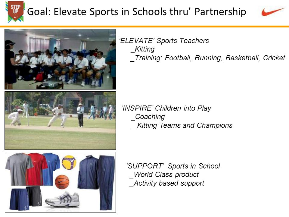 ELEVATE Sports Teachers _Kitting _Training: Football, Running, Basketball, Cricket Goal: Elevate Sports in Schools thru Partnership INSPIRE Children into Play _Coaching _ Kitting Teams and Champions SUPPORT Sports in School _World Class product _Activity based support