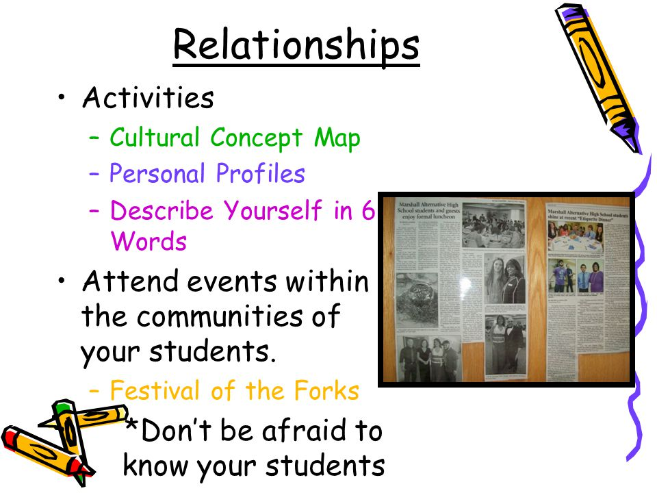 Relationships Activities –Cultural Concept Map –Personal Profiles –Describe Yourself in 6 Words Attend events within the communities of your students.