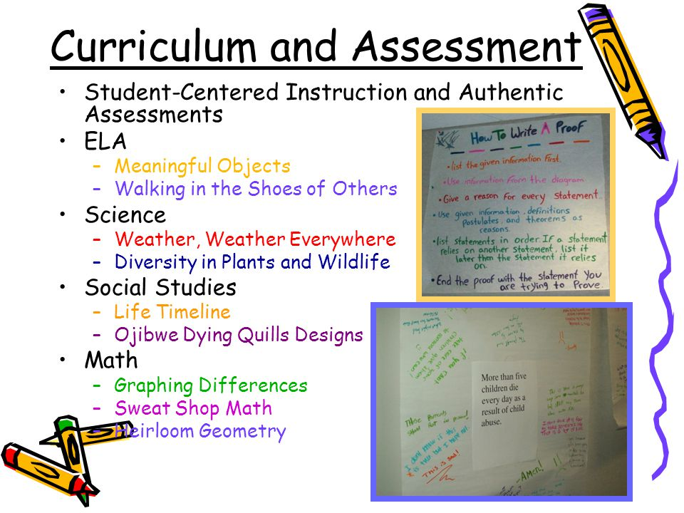 Curriculum and Assessment Student-Centered Instruction and Authentic Assessments ELA –Meaningful Objects –Walking in the Shoes of Others Science –Weather, Weather Everywhere –Diversity in Plants and Wildlife Social Studies –Life Timeline –Ojibwe Dying Quills Designs Math –Graphing Differences –Sweat Shop Math –Heirloom Geometry