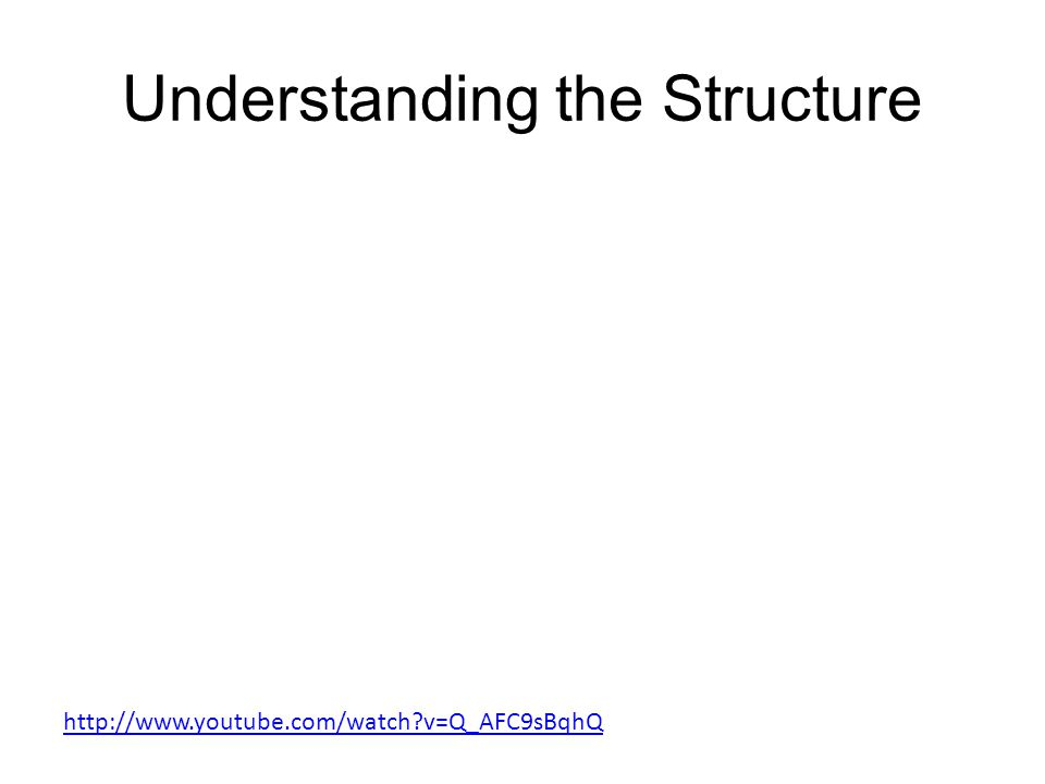 Understanding the Structure http://www.youtube.com/watch v=Q_AFC9sBqhQ