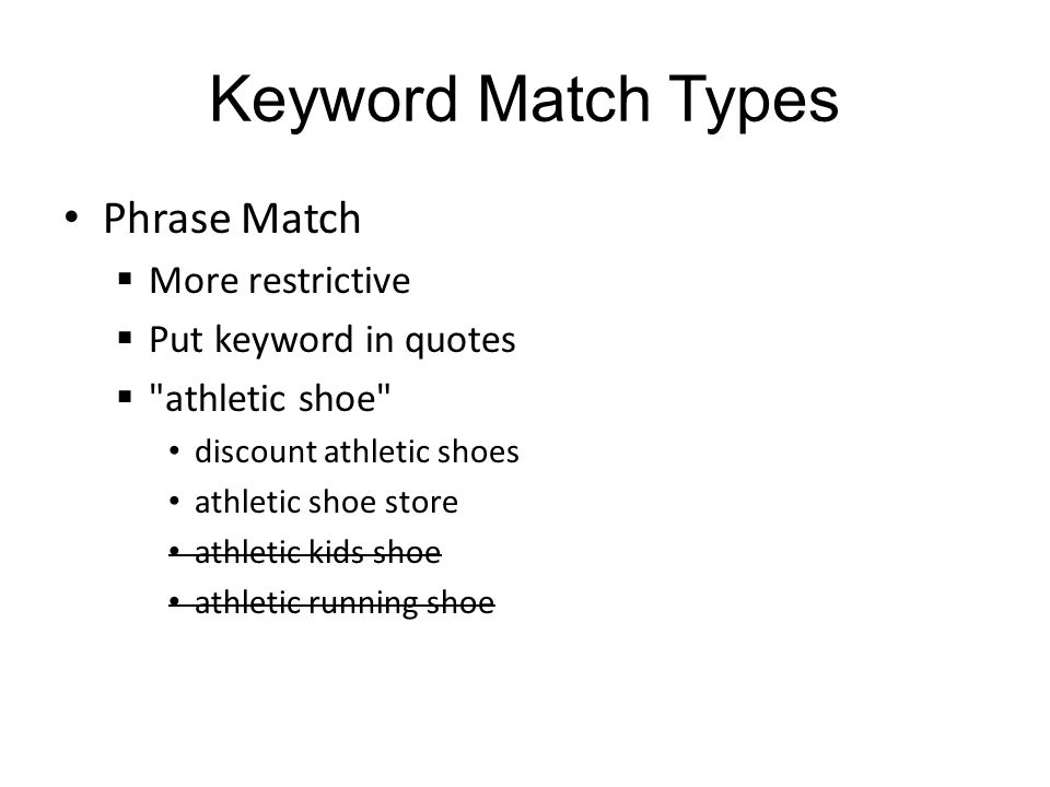 Keyword Match Types Phrase Match More restrictive Put keyword in quotes athletic shoe discount athletic shoes athletic shoe store athletic kids shoe athletic running shoe