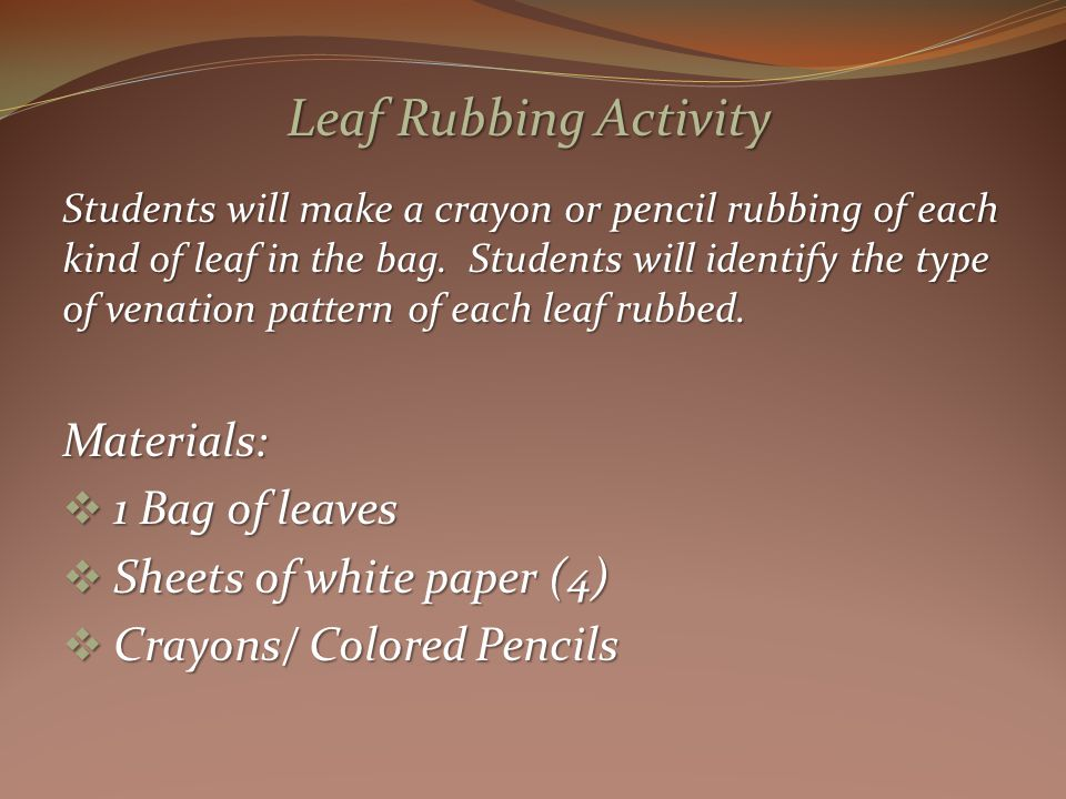 Students will make a crayon or pencil rubbing of each kind of leaf in the bag.