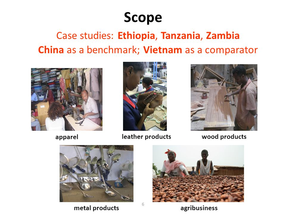 Scope Case studies: Ethiopia, Tanzania, Zambia China as a benchmark; Vietnam as a comparator 6 apparel wood products metal productsagribusiness leather products
