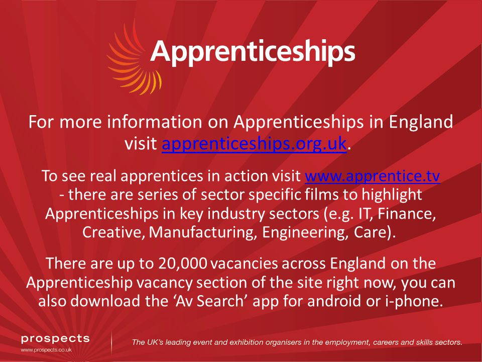 For more information on Apprenticeships in England visit apprenticeships.org.uk.