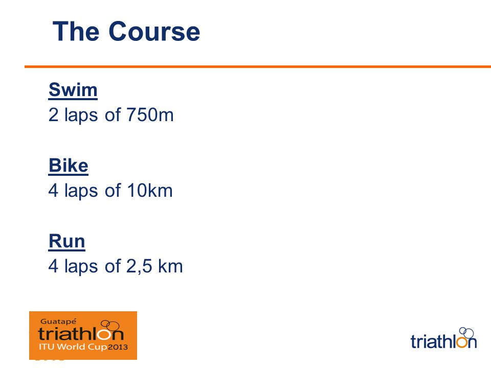 The Course Swim 2 laps of 750m Bike 4 laps of 10km Run 4 laps of 2,5 km