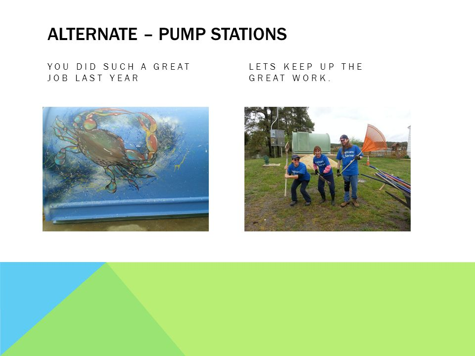 ALTERNATE – PUMP STATIONS YOU DID SUCH A GREAT JOB LAST YEAR LETS KEEP UP THE GREAT WORK.