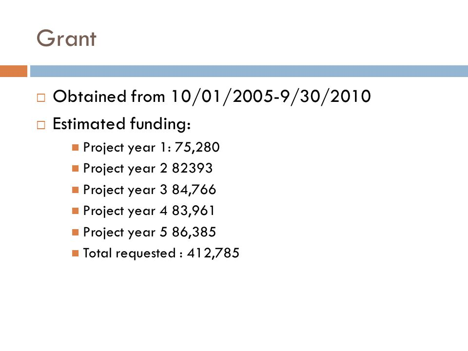 Grant Obtained from 10/01/2005-9/30/2010 Estimated funding: Project year 1: 75,280 Project year 2 82393 Project year 3 84,766 Project year 4 83,961 Project year 5 86,385 Total requested : 412,785