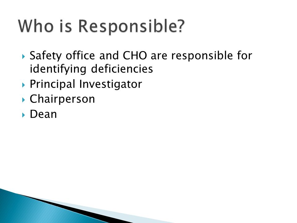 Safety office and CHO are responsible for identifying deficiencies Principal Investigator Chairperson Dean