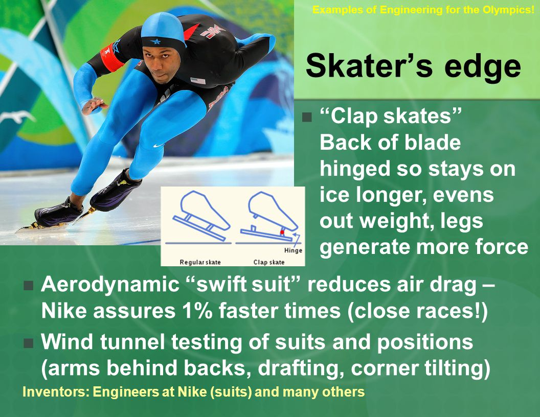 Skaters edge Clap skates Back of blade hinged so stays on ice longer, evens out weight, legs generate more force Aerodynamic swift suit reduces air drag – Nike assures 1% faster times (close races!) Wind tunnel testing of suits and positions (arms behind backs, drafting, corner tilting) Inventors: Engineers at Nike (suits) and many others Examples of Engineering for the Olympics!