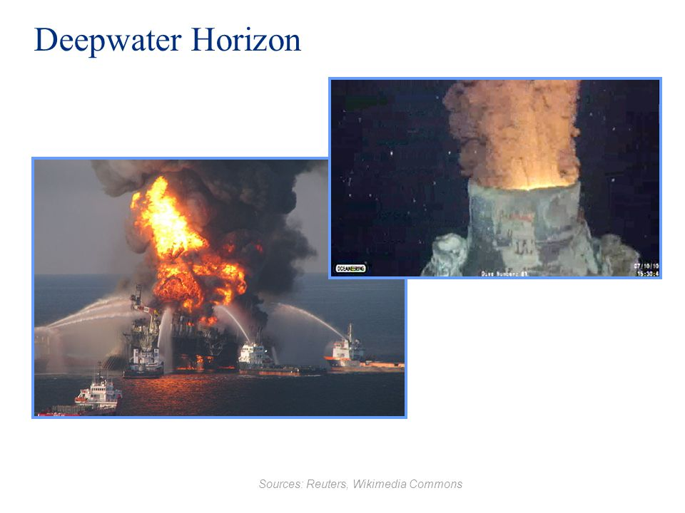 Deepwater Horizon Sources: Reuters, Wikimedia Commons