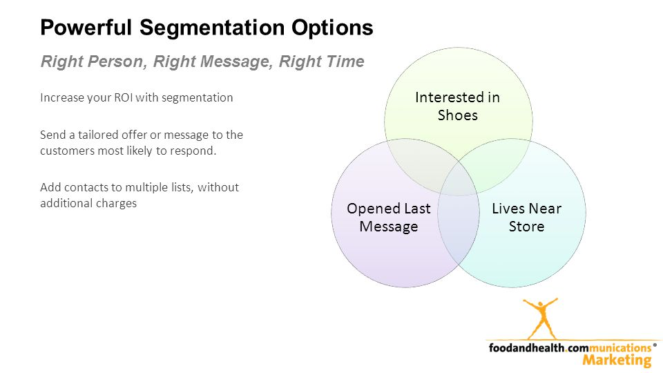 Powerful Segmentation Options Right Person, Right Message, Right Time Increase your ROI with segmentation Send a tailored offer or message to the customers most likely to respond.