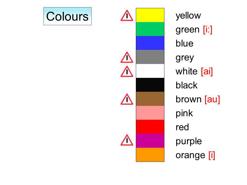 Colours orange [i] purple red pink brown [au] black white [ai] grey blue green [i:] yellow