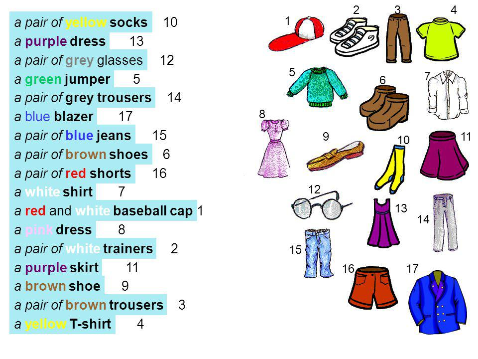 a pair of yellow socks a purple dress a green jumper a pair of grey trousers a blue blazer a pair of blue jeans a pair of brown shoes a pair of red shorts a white shirt a red and white baseball cap a pink dress a pair of white trainers a purple skirt a brown shoe a pair of brown trousers 1 234 5 6 7 8 9 1 10 11 12 13 14 15 16 a yellow T-shirt a pair of grey glasses 10 13 12 5 14 17 15 6 16 7 1 8 2 11 9 3 4