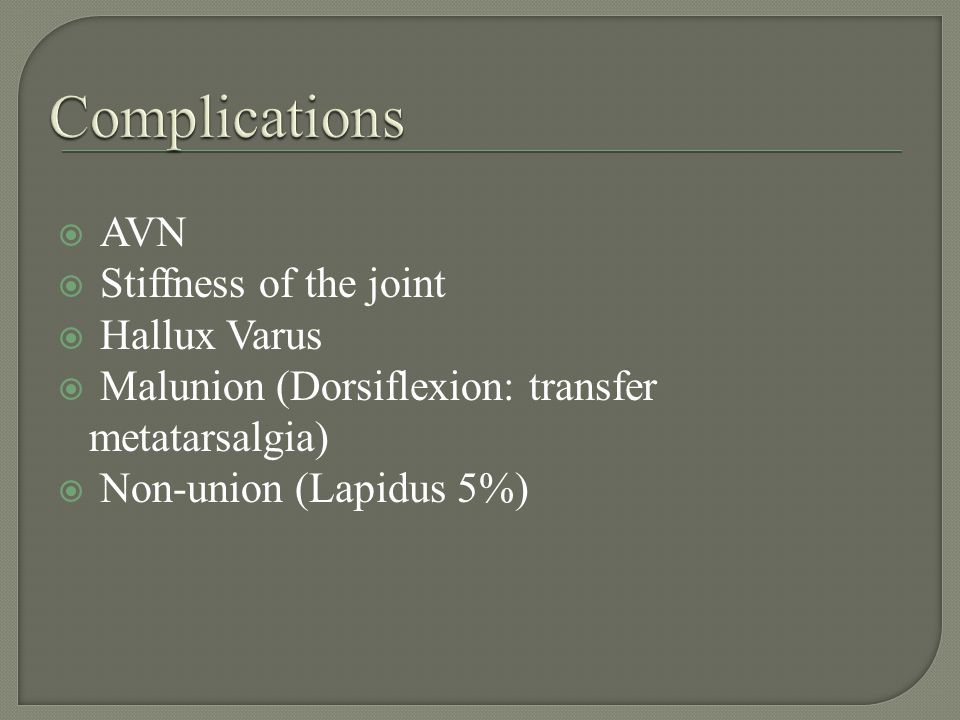 AVN Stiffness of the joint Hallux Varus Malunion (Dorsiflexion: transfer metatarsalgia) Non-union (Lapidus 5%)