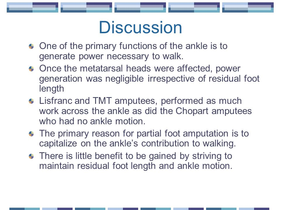 Discussion One of the primary functions of the ankle is to generate power necessary to walk.