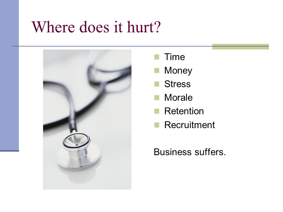 Where does it hurt Time Money Stress Morale Retention Recruitment Business suffers.