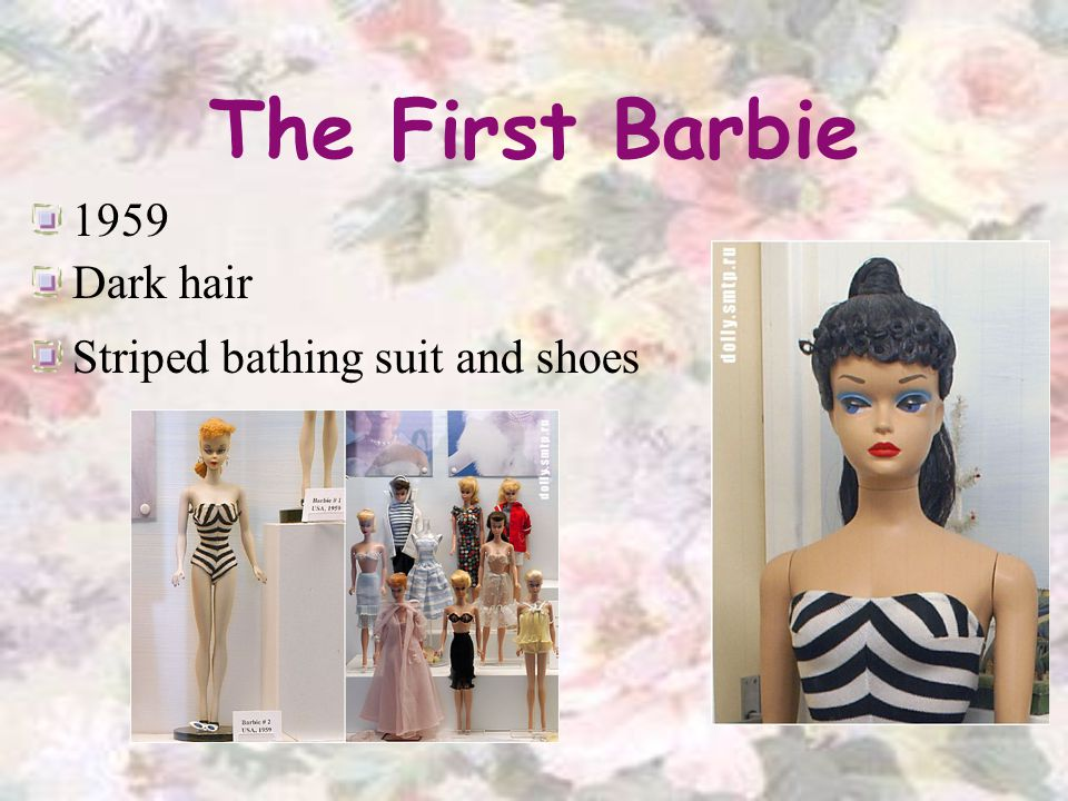 The First Barbie 1959 Dark hair Striped bathing suit and shoes