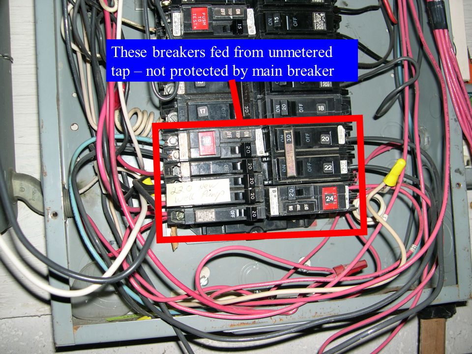 These breakers fed from unmetered tap – not protected by main breaker