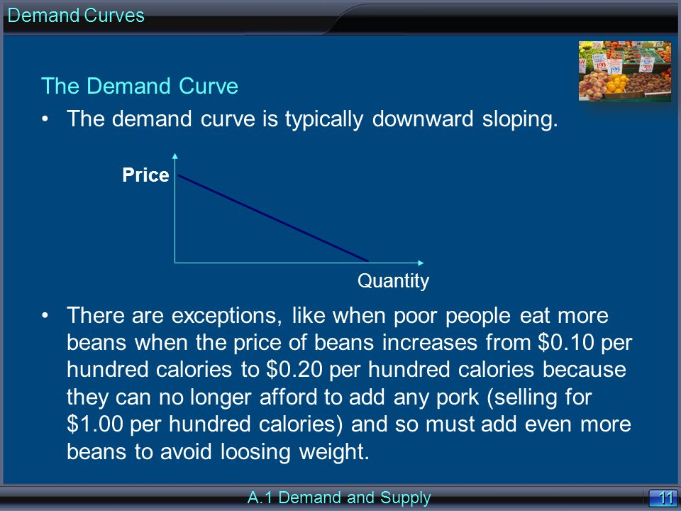 11 The Demand Curve The demand curve is typically downward sloping.