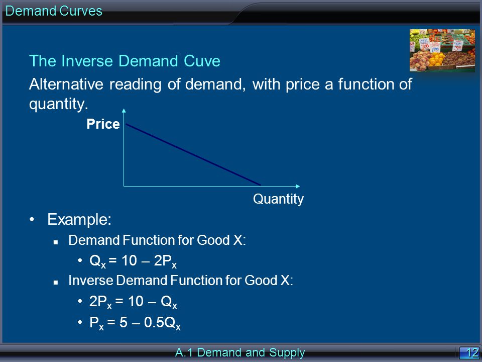 12 The Inverse Demand Cuve Alternative reading of demand, with price a function of quantity.