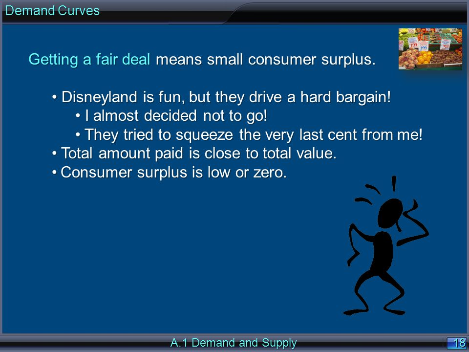 18 A.1 Demand and Supply Getting a fair deal means small consumer surplus.