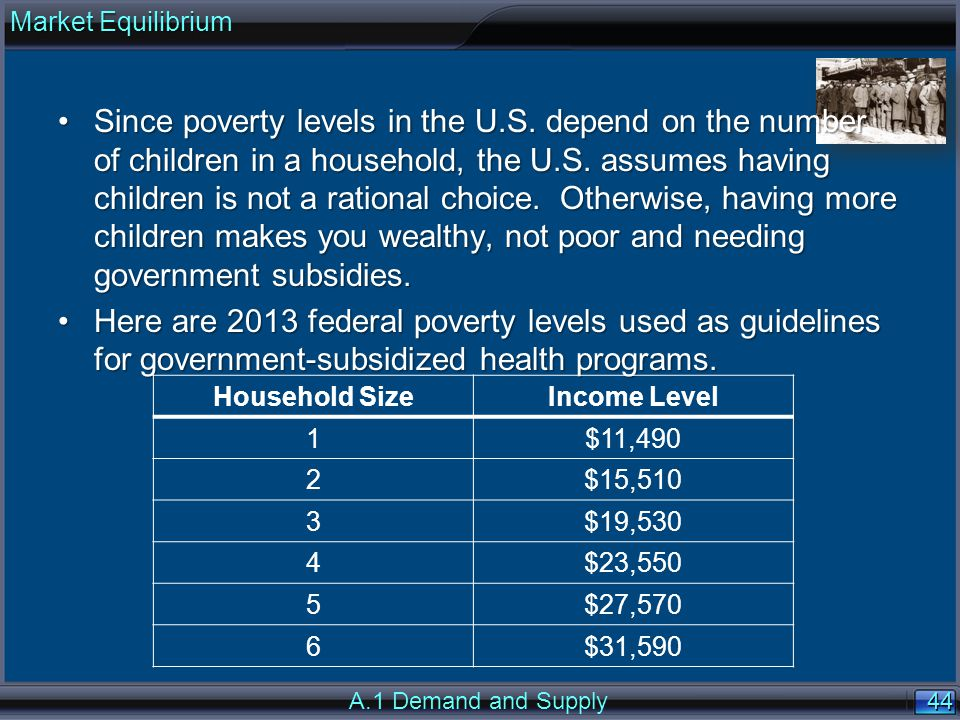 44 Since poverty levels in the U.S. depend on the number of children in a household, the U.S.