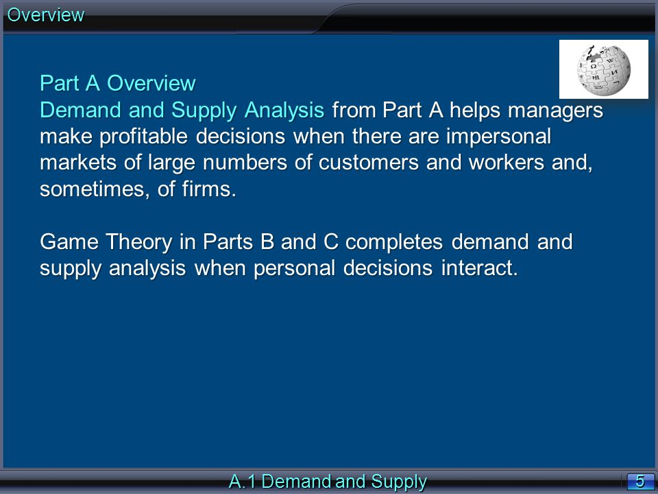 5 5 Part A Overview Demand and Supply Analysis from Part A helps managers make profitable decisions when there are impersonal markets of large numbers of customers and workers and, sometimes, of firms.