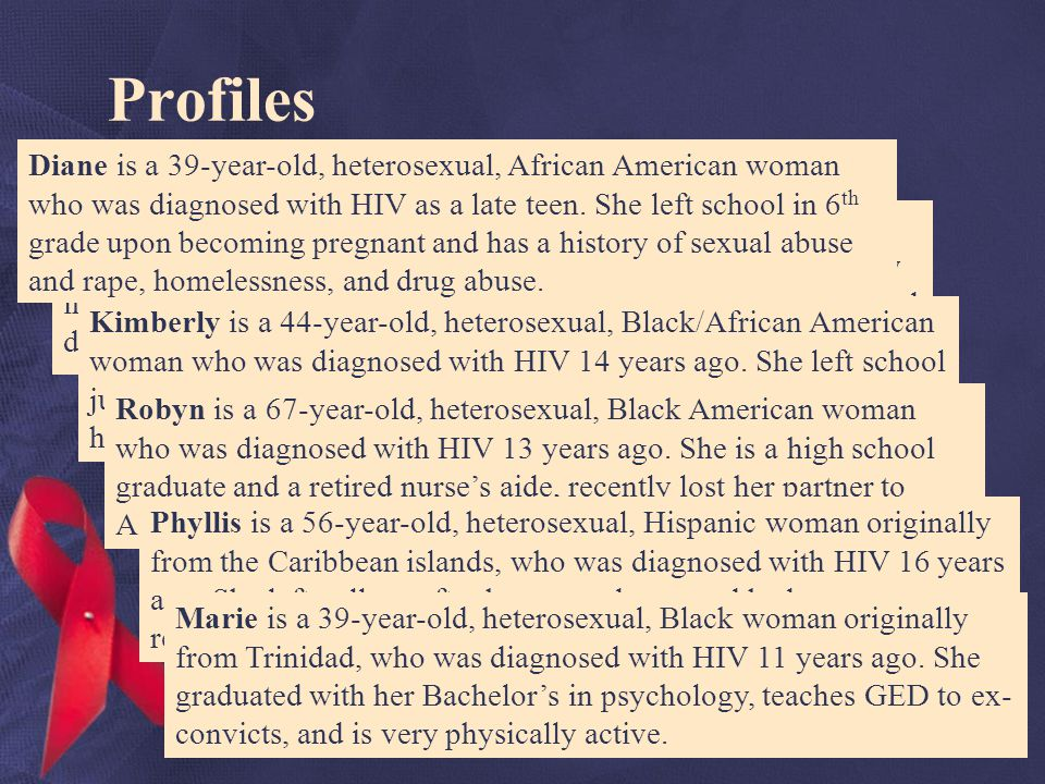 Profiles Violet is a 20-year-old, heterosexual, African American woman who was diagnosed with HIV 12 years ago after being perinatally infected.