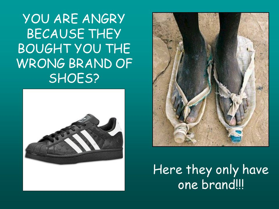 YOU ARE ANGRY BECAUSE THEY BOUGHT YOU THE WRONG BRAND OF SHOES Here they only have one brand!!!