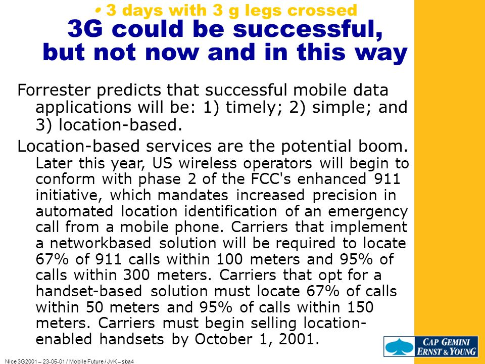 Nice 3G2001 – 23-05-01 / Mobile Future / JvK – sba4 If we cant precure such an serious accident… Consumers first want to be safe, healthy and accepted.