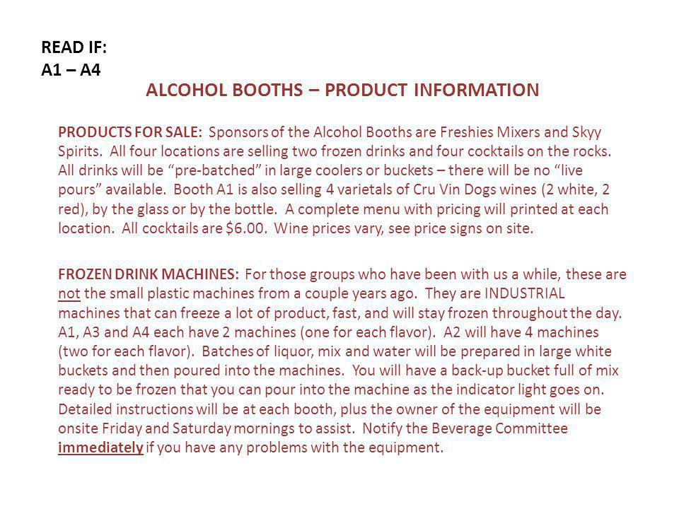 READ IF: A1 – A4 ALCOHOL BOOTHS – PRODUCT INFORMATION PRODUCTS FOR SALE: Sponsors of the Alcohol Booths are Freshies Mixers and Skyy Spirits.