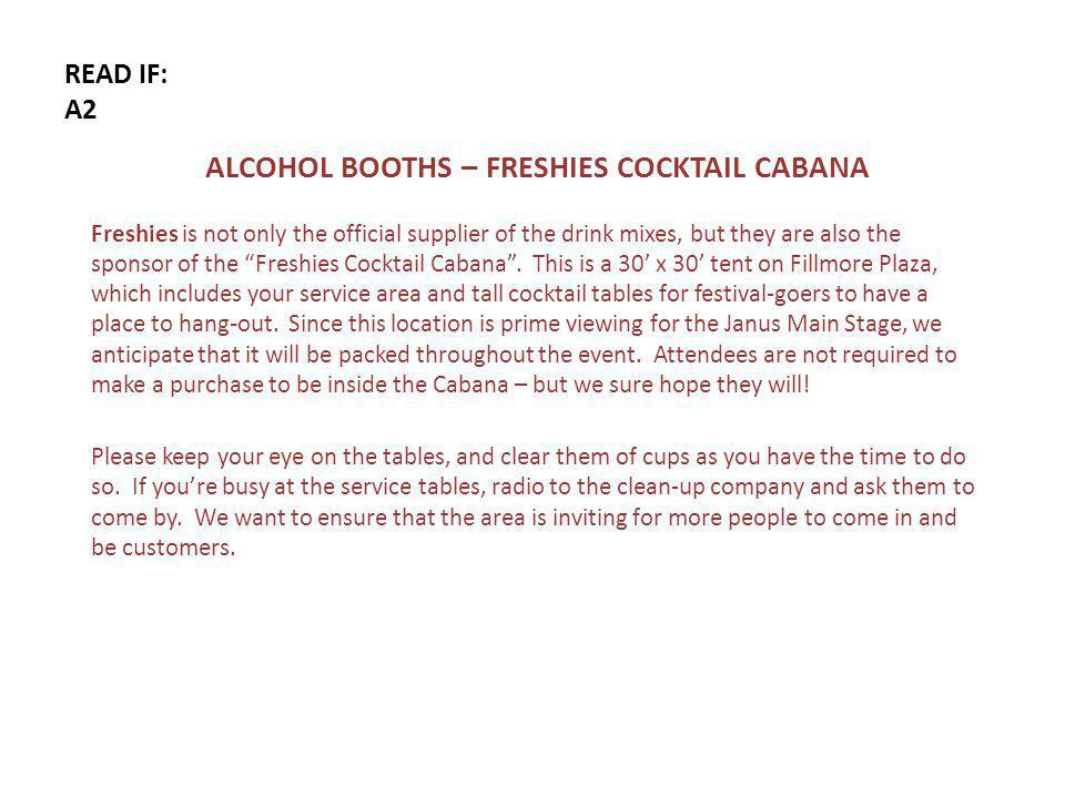 READ IF: A2 ALCOHOL BOOTHS – FRESHIES COCKTAIL CABANA Freshies is not only the official supplier of the drink mixes, but they are also the sponsor of the Freshies Cocktail Cabana.