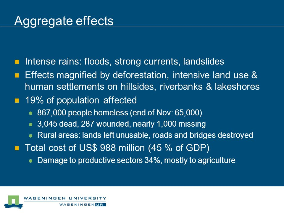 Aggregate effects Intense rains: floods, strong currents, landslides Effects magnified by deforestation, intensive land use & human settlements on hillsides, riverbanks & lakeshores 19% of population affected 867,000 people homeless (end of Nov: 65,000) 3,045 dead, 287 wounded, nearly 1,000 missing Rural areas: lands left unusable, roads and bridges destroyed Total cost of US$ 988 million (45 % of GDP) Damage to productive sectors 34%, mostly to agriculture