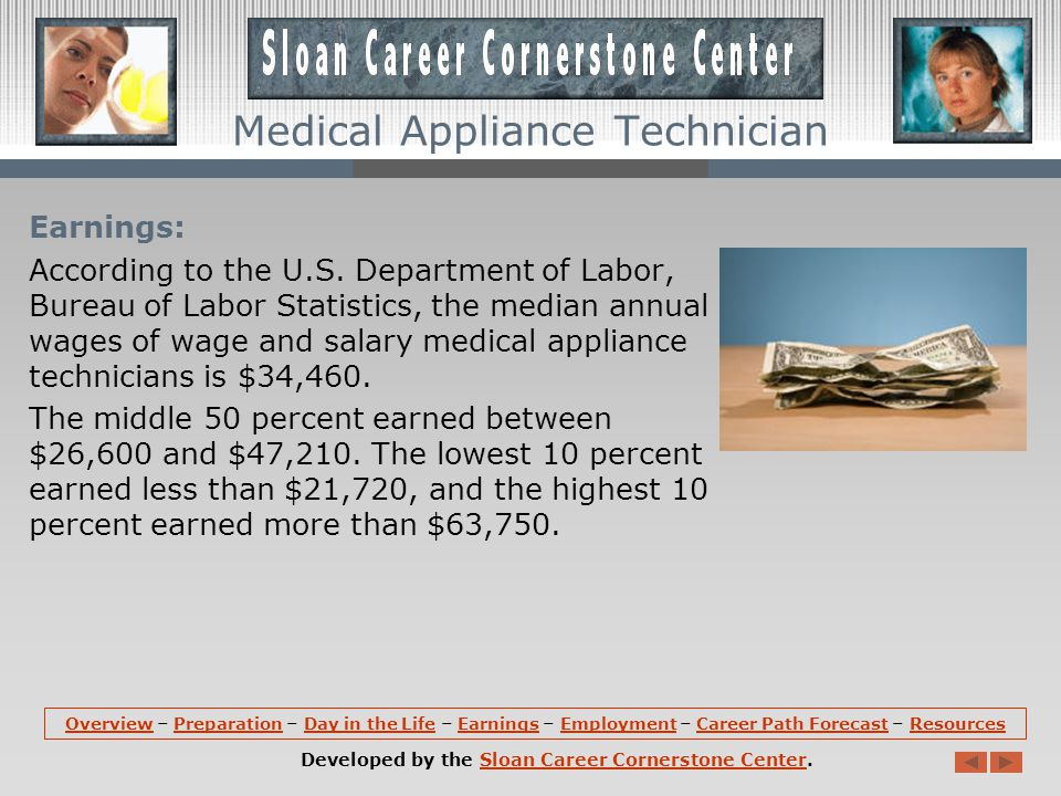 Day in the Life: Medical appliance technicians generally work in clean, well-lighted, and well-ventilated laboratories.