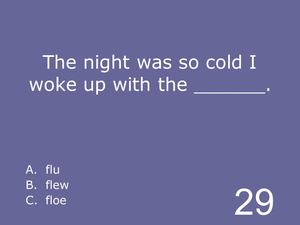 29 The night was so cold I woke up with the ______. A.flu B.flew C.floe