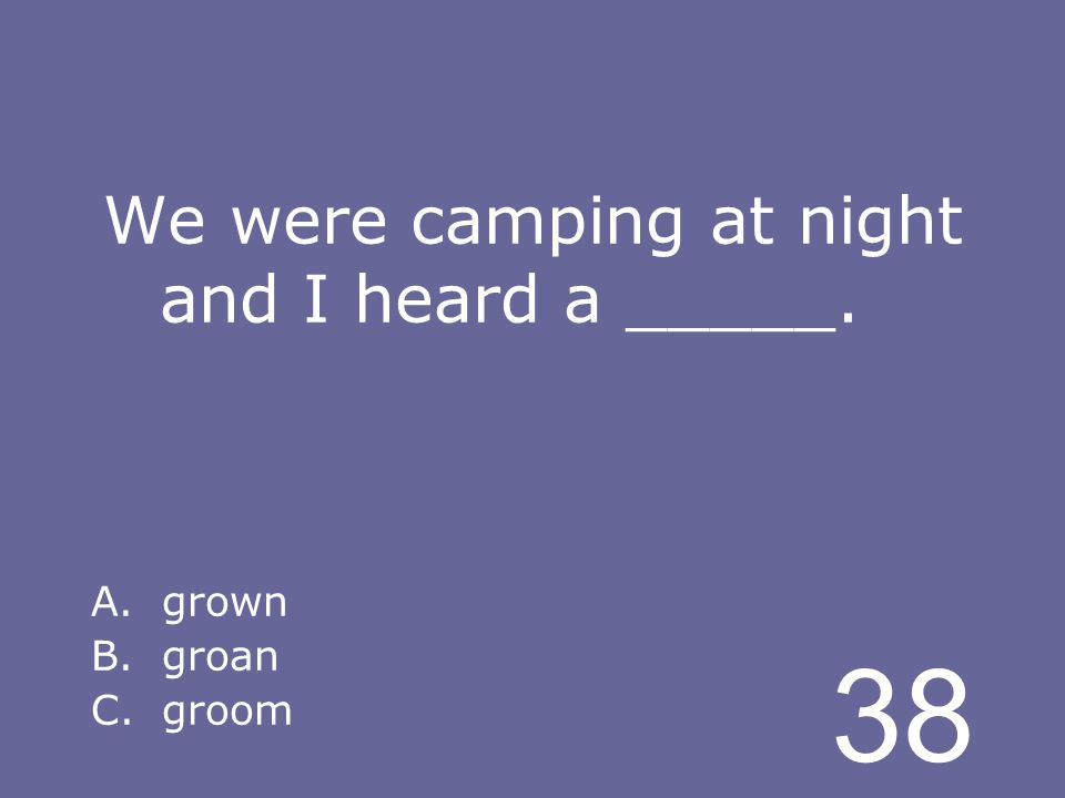 38 We were camping at night and I heard a _____. A.grown B.groan C.groom