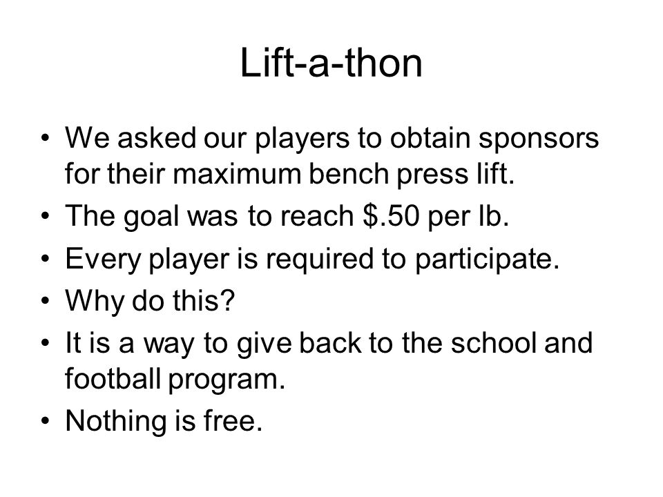 Lift-a-thon We asked our players to obtain sponsors for their maximum bench press lift.