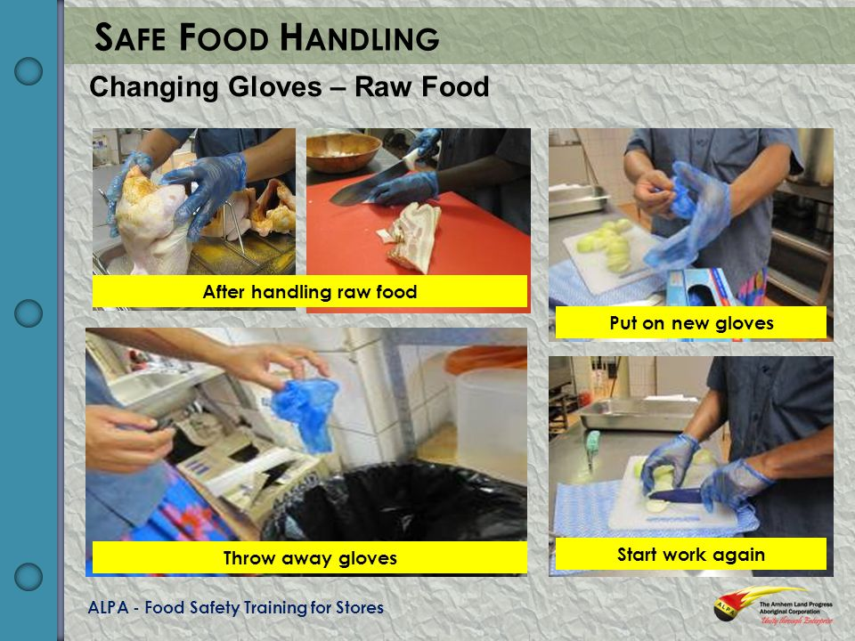 ALPA - Food Safety Training for Stores S AFE F OOD H ANDLING Changing Gloves – Raw Food After handling raw food Throw away gloves Put on new gloves Start work again