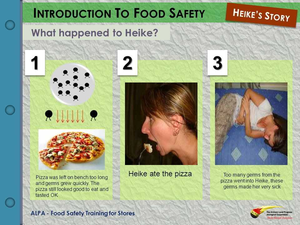 ALPA - Food Safety Training for Stores I NTRODUCTION T O F OOD S AFETY H EIKE S S TORY What happened to Heike.