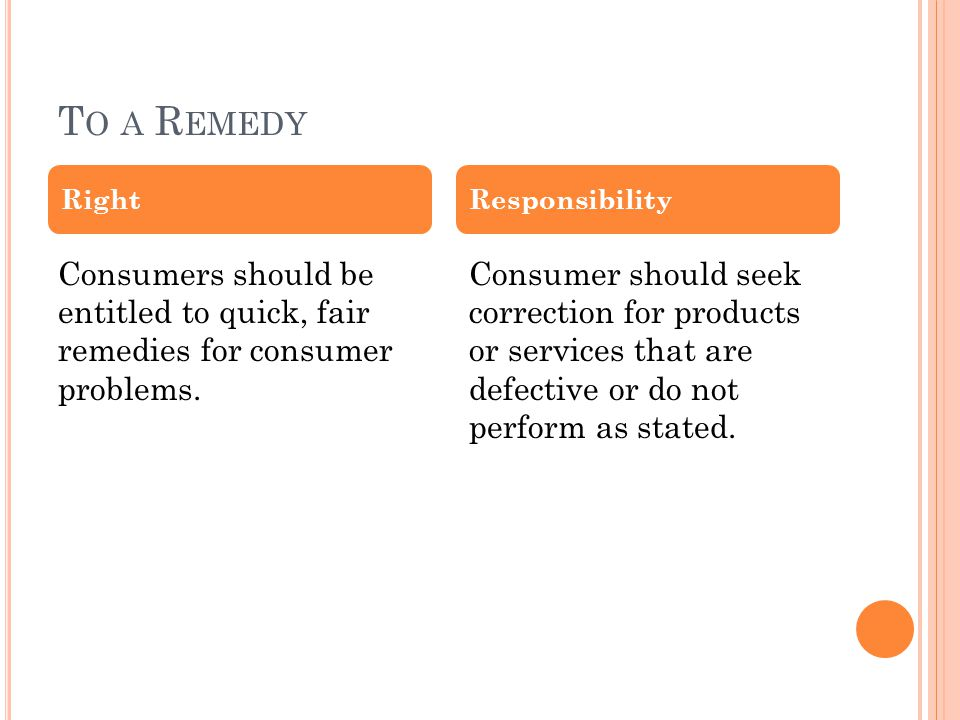T O A R EMEDY Consumers should be entitled to quick, fair remedies for consumer problems.